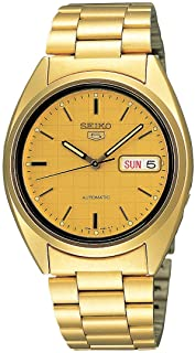 Seiko SNXL72 Seiko 5 Automatic Gold-Tone Stainless Steel Bracelet Men Watch with Patterned Dial
