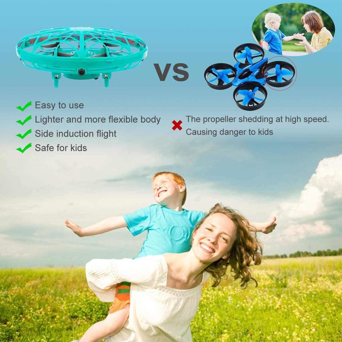 KToyoung Hand Operated Drones for Kids Adults,Hands Free Mini Drone Small Flying Ball Toy UFO Drone Indoor Outdoor Motion Sensor Helicopter Ball Toys for Kids 6 7 8 9 10 and Up Years Boys Girls Gift