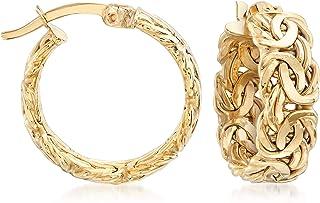 Ross-Simons 18kt Yellow Gold Byzantine-Link Hoop Earrings