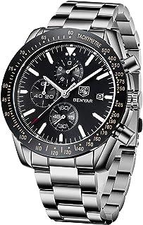 BY BENYAR BENYAR Men's Big face Bezel Design Multi-Function Chronograph, Casual Fashion Business Stainless Steel Watch