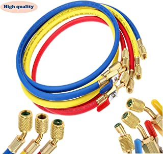 Refrigerant A/C Charging Hoses with Ball Valves, 3-Color 60