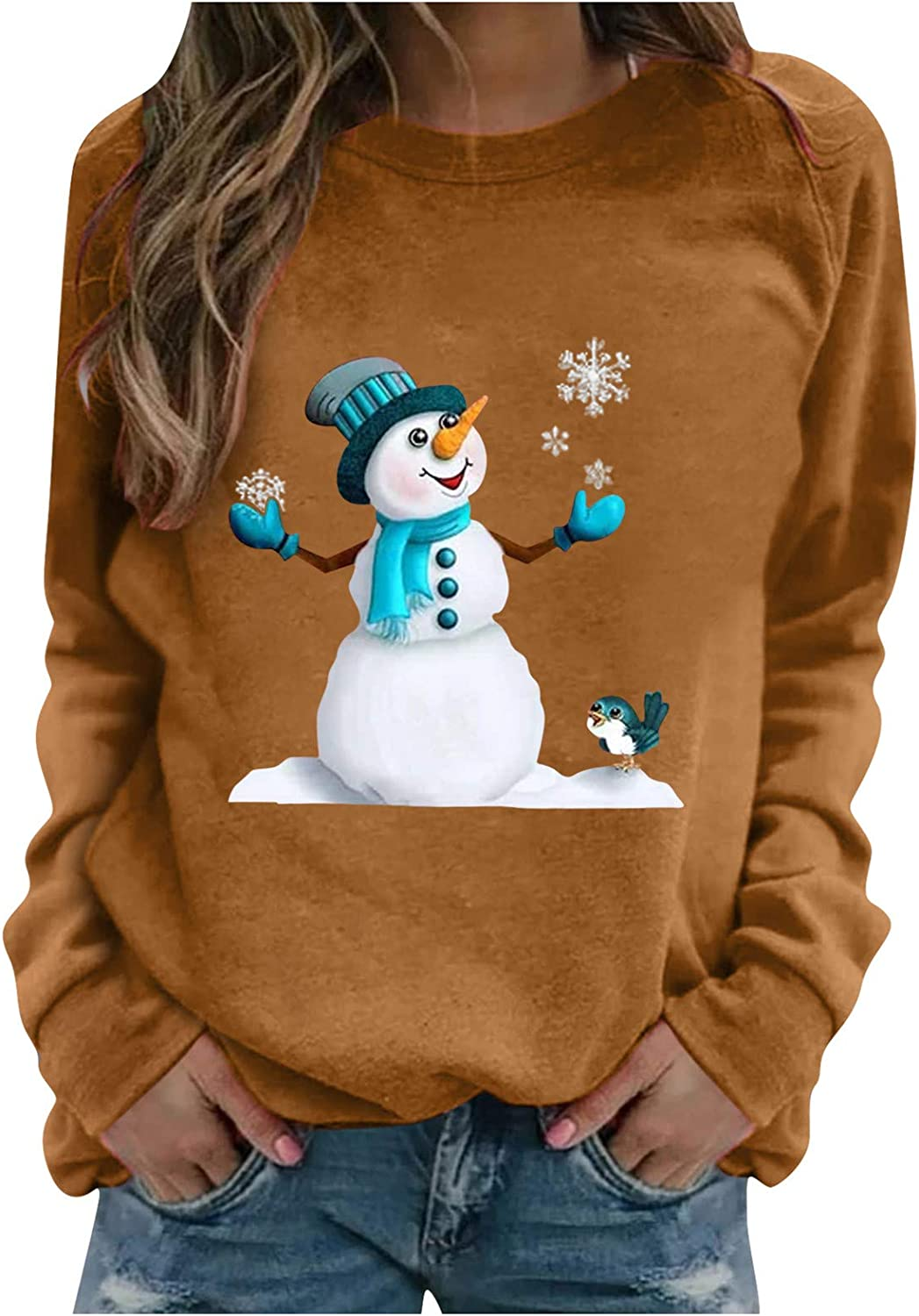 Sweatshirts for Women,Christmas Long Sleeve Tops Pullover Snowman Printed Lovely Graphic O-Neck T-Shirt Blouse