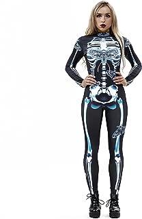 Women's Skeleton Halloween Bodysuit Costume Stretch Skinny Catsuit Jumpsuit