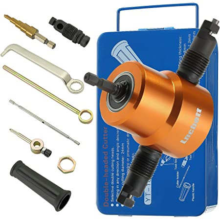 360 Degree Adjustable Power Drill Nibbler Cutting Tools Kit Moonbiffy Double Head Sheet Metal Nibbler Cutter