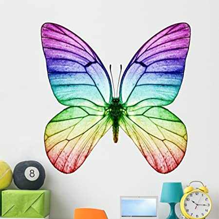 Butterfly Rainbow Wall Decal 27in Tall Rainbow Size 48in Wide Rainbow Wall Mural Fabric Wall Decal Not Vinyl Like Most Rainbow Wall Decals for Girls Bedroom 20 Butterflies and 27 Dots.