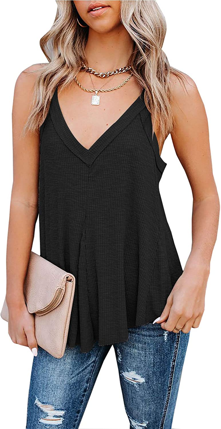 WMZCYXY Women's Casual V Neck Swing Tank Top Summer Loose Fitting Camisole Shirts