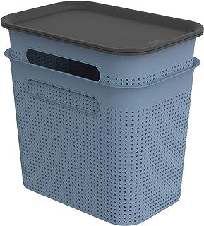 Rotho Brisen Jeu de 2 Boîtes de Rangement 7 l avec Couvercle, Plastique (PP Recyclé), Bleu, 2X 7 l (26,6 X 18,5 X 26,0 cm)
