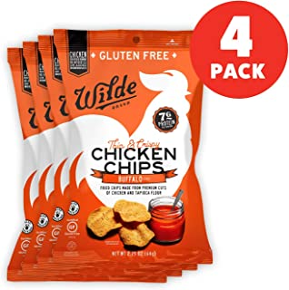 Buffalo Chicken Chips by Wilde Brands | Protein Snack | Made with Real Chicken | Keto Friendly, Paleo Certified | Antibiotic and Gluten Free | 2.25oz Bag (4 count)