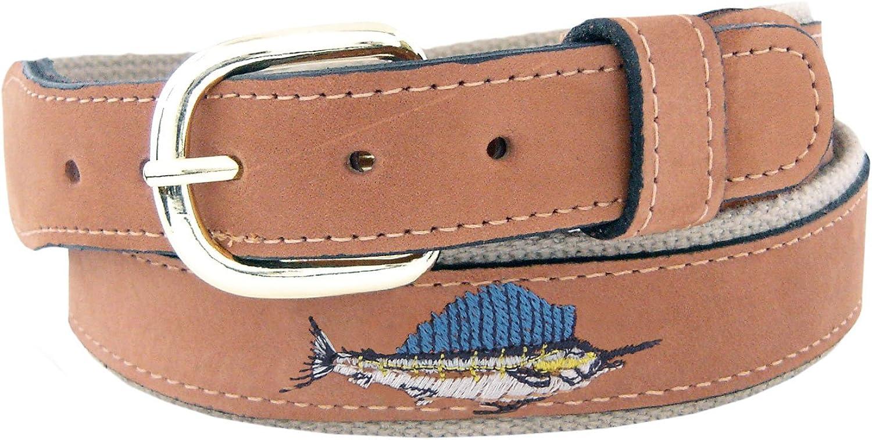 ZEP-PRO Men's Tan Leather Embroidered Sailfish Belt