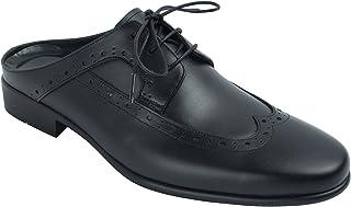 agos 男式 wing-tip 皮革骡子后开口拖鞋一脚蹬皮鞋
