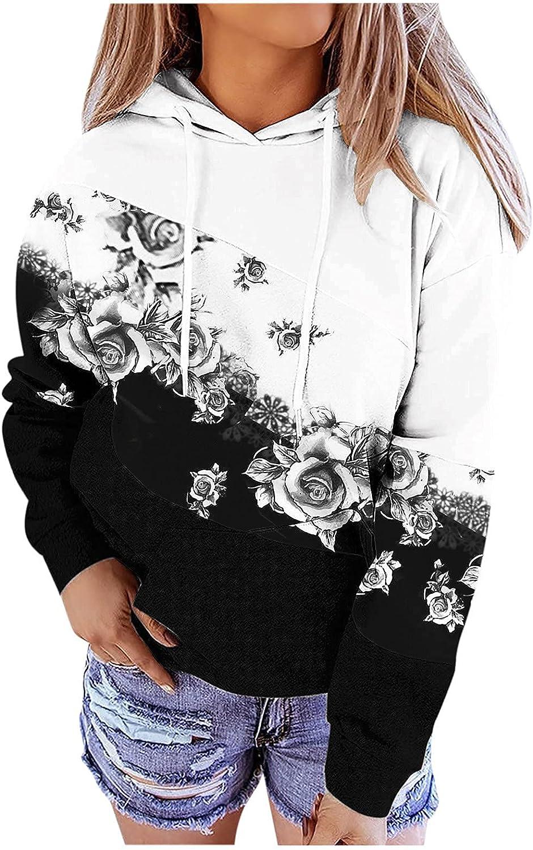 Plus Size Hoodie for Women Long Sleeve Starry Sky Tree Floral Pr