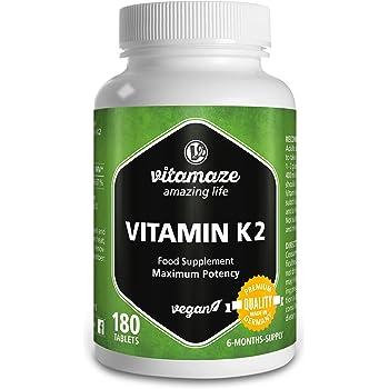Vitamaze® Vitamina K2 MK-7 200 mcg Alto Dosaggio Menachinone, 180 Compresse Vegan per 6 Mesi, Qualità Tedesca, Naturale Integratore Alimentare senza Additivi non Necessari