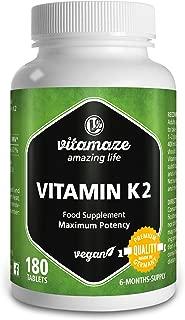 Vitamaze® Vitamina K2 MK-7 200 µg altamente dosificada - certificada - Menaquinona - 180 comprimidos per 6 meses - Hecho en Alemania - sin estearato de magnesio