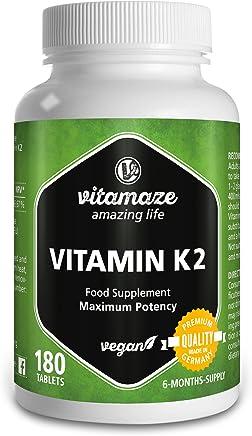 Vitamaze Vitamina K2 certificata, menachinone MK-7 200 µg ad alto dosaggio, 180 compresse adatte alle persone vegane, confezione scorta da 6 mesi, prodotto di qualità privo di magnesio stearato