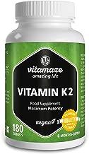 Vitamaze Vitamina K2 MK-7 200µg alto dosaggio - certificata - Menachinone - 180 compresse vegane per 6 mesi - Prodotto in Germania - senza stearato di magnesio
