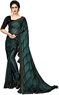 Red Saree Women's Linen Saree (Turquoise Blue)