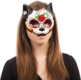 Bristol Novelty EM762 Day of the Dead Kitty Half Mask Glasses Frame, Womens, Multi-Colour, One Size
