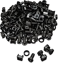 deleyCON 100x M6 Cage Nuts Screw Set for Network Cabinets - Patch Panel Racks Server Casing Housing 19-inch 10-inch Fitting Kit Steel - Black