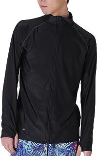 PONTAPES(ポンタペス) ラッシュガード フードなし フルジップ シャツ 全20色柄 メンズ レディース S~3Lサイズ 長袖 UVカット UPF50 + 指穴つき PR-4300