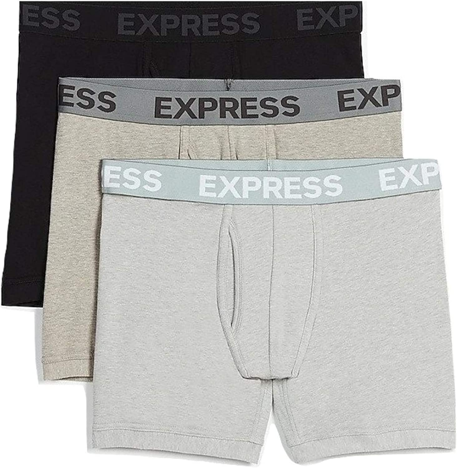 Express Men's 3 Pack Gray and Black Boxer Briefs