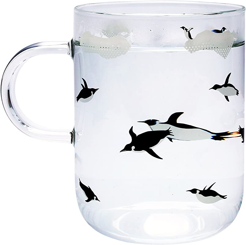 Penguin Glass Coffee Cup 17 Ounce Handle Mugs Drinking Tea Latte Espresso Juice Beer Wine Water Mascotcases