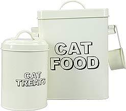 CrazyGadget ® Vintage Classic Retro Cat Treats Almacenamiento de Alimentos Container Set–Crema