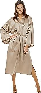 Jadee Damen Seiden Kimono Morgenmantel lang aus 100% Seide
