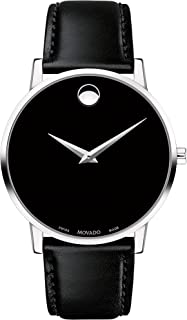 Movado Men's Museum Stainless Steel Watch with Concave Dot Museum Dial, Silver/Black Strap (607269)