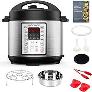 Rozmoz 14-in-1 Electric Pressure Cooker Instant Programmable Pressure Cookers, 6 Quart, Stain-Resistant Slow Cooker, Steamer, Saute, Yogurt Maker, Egg Cook, Sterilizer, Warmer, Rice Cooker with 10 Deluxe Accessory kits