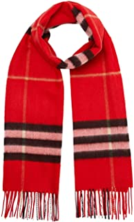 Classic Cashmere Scarf in Check- Bright Military Red