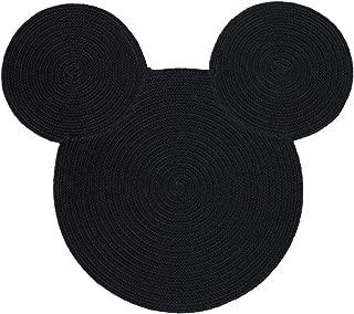 Ethan Allen | Disney Braided Mickey Mouse Rug, 3' x 3', Mickey's Ears Black