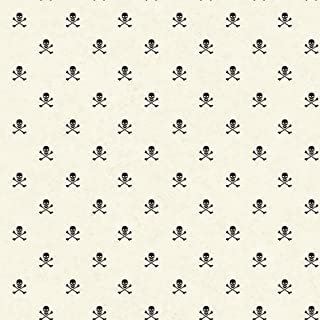 York Wallcoverings Brothers and Sisters V Skull & Crossbones Removable Wallpaper, White/Black