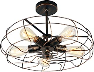 Unitary Brand Vintage Barn Copper Metal Semi Flush Mount Light Max 300W with 5 Lights Painted Finish