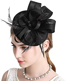Sinamay Feather Fascinators Womens Pillbox Flower Derby Hat for Cocktail Ball Wedding Church Tea Party