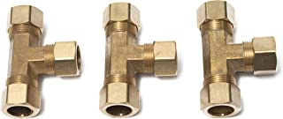 LTWFITTING 5/8-Inch OD Compression Tee,Brass Compression Fitting(Pack of 3)