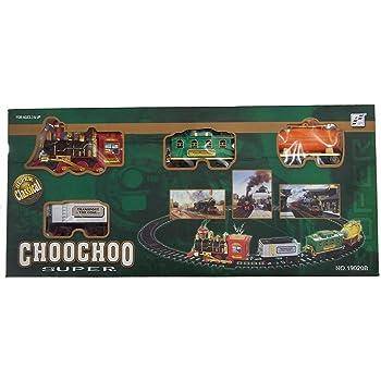 JIPPCO oy Train Emits Real Smoke Light Sound Track Set Battery Operated Super Classical ChooChoo Toy Train - Multi Color