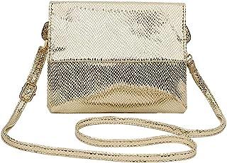 SDINAZ Damen Umhängetaschen Mode PU Leder klein Schultertaschen Umhängetaschen Henkeltaschen DE168 Gold