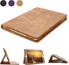 iPad 9.7 Leather Case, BoriYuan Vintage Genuine Leather Smart Cover Protective Slim Folio Flip Stand for Apple iPad 9.7(A1822/A1823) with Card Slot Magnetic Sleep/Wake+Stylus+Screen Protector (Brown)