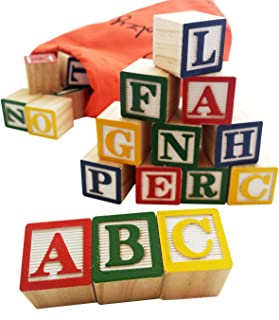 Skoolzy ABC Wooden Blocks for Toddlers - 30 Wood Alphabet Blocks - Montessori Stacking Letter Preschool Learning Toys - Kindergarten Reading with Travel Tote