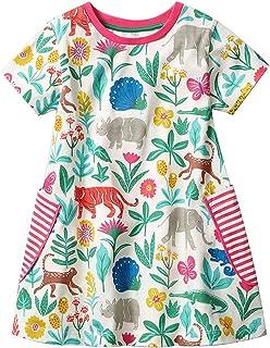 Lyxinpf Little Girls Summer Short Sleeve Dresses Toddler Cotton Stripe T-Shirt Casual Cartoon Tunic Dress Kids