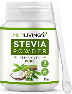 NKD Living 100% Pure Stevia Powder, Reb-A 98% (25g) …