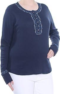 Lucky Brand Women's Border Print Novelty Henley Top Shirt
