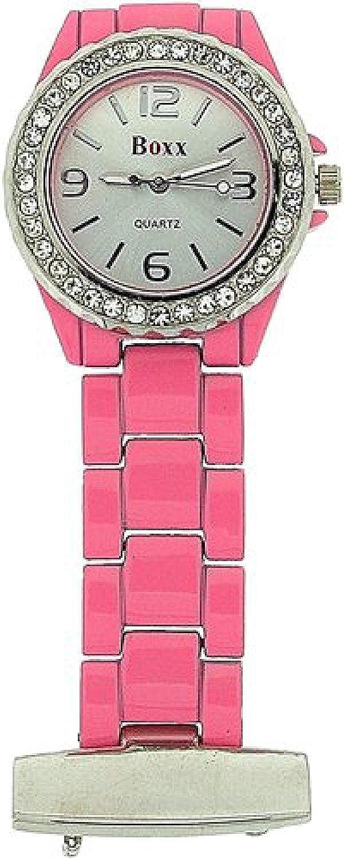 Boxx Ladies Pink Enamel Stone Set Bezel Fob Nurses Beauticians W service Manufacturer OFFicial shop