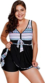 Mishen Women's Plus Size Two Pieces Tankini Swimdress Tribal Print Swimwear