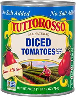 Tuttorosso No Salt Added Diced Tomatoes, 28oz Can (Pack of 12)