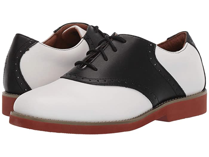 Vintage Style Shoes, Vintage Inspired Shoes School Issue Upper Class Adult WhiteBlack Leather Girls Shoes $63.95 AT vintagedancer.com