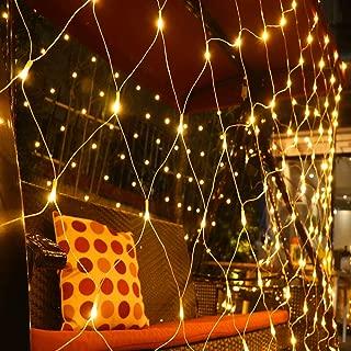 Fog Rain LED Net Lights 6.6ft x 9.8ft Warm White,Party Background Light,8 Modes Dimmable String Lights for Christmas Halloween(Warm White)