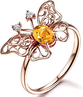 Gnzoe Jewelry-Women Sterling Silver Engagement Rings for Womenanniversary Rings Yellow Created-Citrine November Birthstone