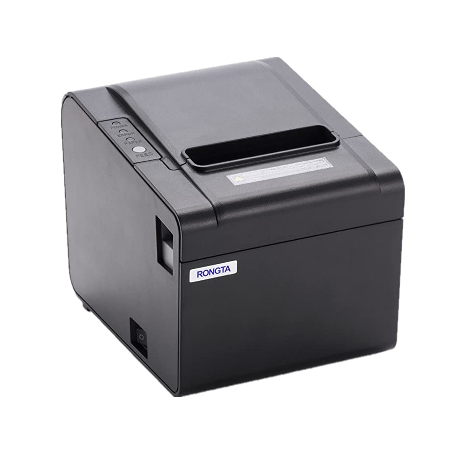 Rongta RP326US ECO-Friendly Receipt Printer, USB (cable incl.) Serial Interfaces, Auto Cutter, POS Printer with 80mm Thermal Paper Rolls - 250mm/sec High-speed Printing (Black)