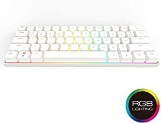 GK61 Hot Swappable Mechanical Gaming Keyboard - 61 Keys Multi Color RGB Illuminated LED Backlit Wired Gaming Keyboard, Waterproof Programmable, for PC/Mac Gamer, Typist (Gateron Optical Red, White)